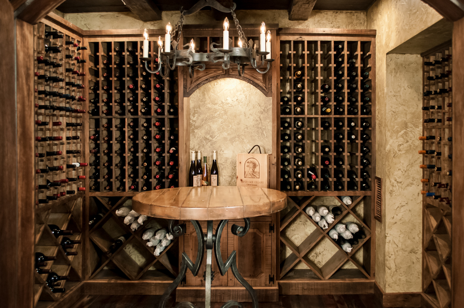 Luxury Finished Basement Old World Wine Cellar