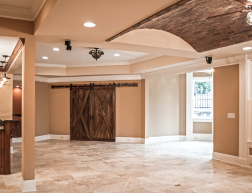 Luxury Finished Basement – Brick Arched Paver Ceiling
